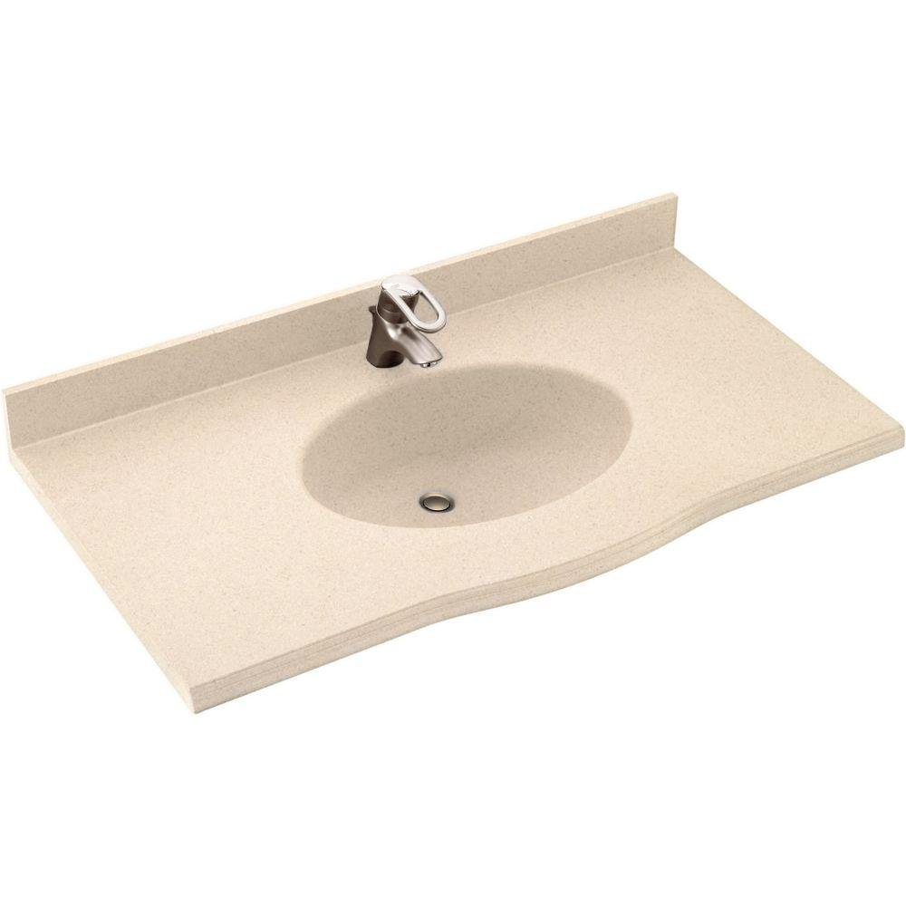 well-wreapped Swanstone EV1B2255-040 Europa 55-Inch Solid Surface Vanity Top with Bermuda Sand Basin