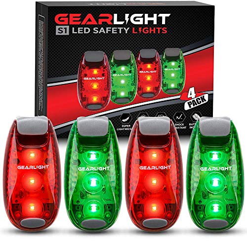 GearLight S1 LED Safety Lights [4 Pack] for Boat, Bike, Dog Collar, Stroller, Runners and Night Running - Clip On, Strobe, Warning, Flashing, Blinking, Reflective Light Accessories (Lights Boat Running)