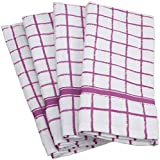 "DII 100% Cotton, Machine Washable, Basic Everyday, Terry, Kitchen Dishtowel, Ultra Absorbant, Windowpane Design, 16 x 26"" Set of 4- Orchid"
