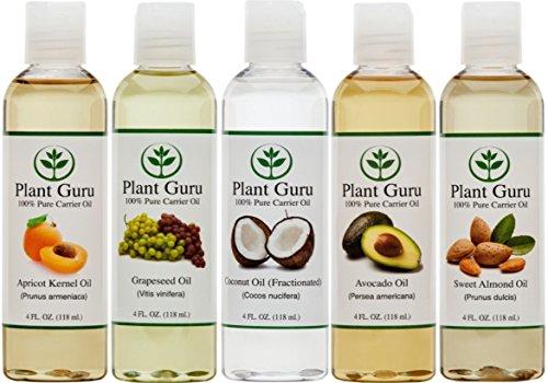 100% Pure перевозчик нефти эстрадно-5 Pack- 4 унции бутылки - Абрикосовое масло, фракционированное кокосовое масло, масло из виноградных косточек, масло авокадо и масло сладкого миндаля