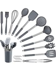 ELCM Silicone Kitchen Utensil Set 12pcs + 6 S hook Cooking Utensils Set for Cooking, Sleek Grey Silicone and Stainless Steel Cooking Utensils, Non-Stick Heat Resistant Kitchenware, Best Kitchen Cooking Tool