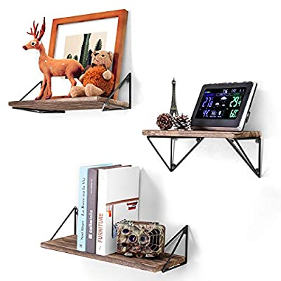 BAYKA Floating Mounted Set of 3 Rustic Wood Wall Shelves for Living Room, Bedroom, Bathroom - 【Attractive Storage Shelves】: Reorganize your home and free countertops from clutter with these cute floating shelves. Composed of solid Paulownia wood boards and matte metal brackets, our functional wall shelves add a decorative touch to your wall while also creating versatile storage space to store and reorganize small items. Perfect for bathroom, bedroom, living room, kitchen, and more. 【Suitable for any contemporary space】: Designed with torched finish wood and industrial triangle metal brackets, the floating shelves not only enhance the aesthetic flare of any contemporary household, but also serve as a delightful decoration fitting to any design styles of a room. Buy one or two sets together to fill an empty wall space and display items as you like. 【Sturdier and Easy to Install】: Large: 16.5×6×4.8 inches; Medium: 14.2×6×4.8 inches; Small: 11.4×6×4.8 inches. These wall shelves are wider and sturdier than competitor's options. Strong enough to hold photos, collectibles, books, treasures, art, small plants, trophies and more. Easy to assemble with all necessary hardware included according to the instruction steps. - wall-shelves, living-room-furniture, living-room - 51v0Qiw%2BKpL. SS400  -
