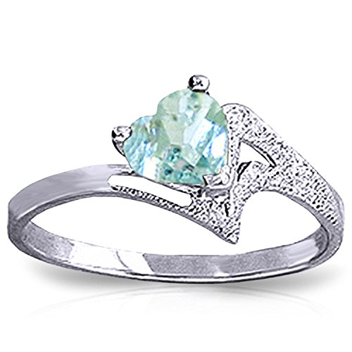 ALARRI 0.95 Carat 14K Solid White Gold White Dove Aquamarine Ring With Ring Size 5.5