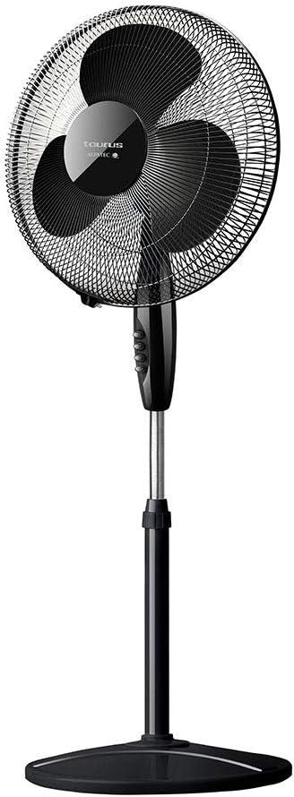 Taurus Greco 16CR Elegance Ventilador de columna oscilante, altura ajustable, sistema de oscilación automático, 3 aspas/40 cm de diámetro, 40 W, negro, Velocidades