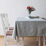 Meiwash Tablecloths Cotton Linen Table Cloth Rectangular Table Cover Simple Style Twill Tablecloths Heat and Moisture Resistance Multi-purpose Indoor and Outdoor(Gray, 130*180)