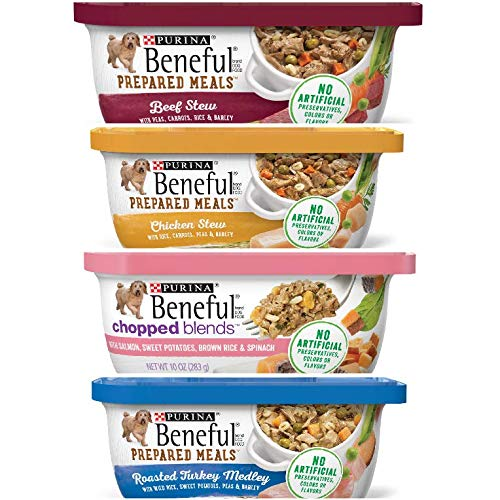 12 Containers of Purina Beneful Chopped Blends 10 OZ EA- 3 Beef Stew, 3 Chicken Stew, 3 Chopped Blends with Salmon, 3 Roasted Turkey Medley