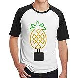 Sakanpo Men's Pineapple Neon Light Raglan Short Sleeve Baseball Tshirt