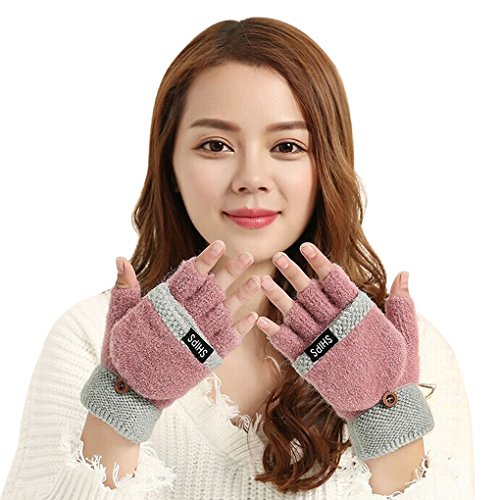 Price comparison product image Women Teenagers 2 in 1 Winter Warm Stretchy Knitted Half Finger Gloves Mittens