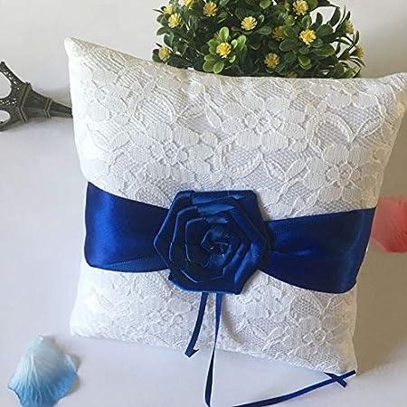 Cuscino Portafedi Bianco E Blu.Peanutaoc Ymjz 021 Cuscino Porta Fedi Nuziali Con Rosa Blu