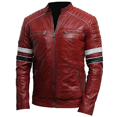 Leatherly Retro estilo Cafe Racer cuero chaqueta rojo