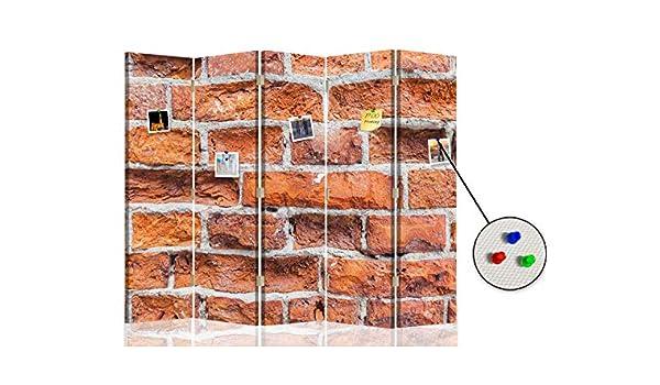 Feeby Separador Foto Corcho Ladrillos Muro 5 Paneles Unilateral Abstracto Rojo 180x175 cm: Amazon.es: Hogar