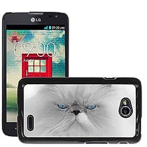 Super Stella Slim PC Hard Case Cover Skin Armor Shell Protection // M00145590 Cat White Fur Blue Eyes Beautiful // LG Optimus L70 MS323
