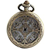 VIGOROSO Celtic Men Lady Gift Vintage Retro Bronze Steampunk Necklace Pandant Pocket Watch in Box