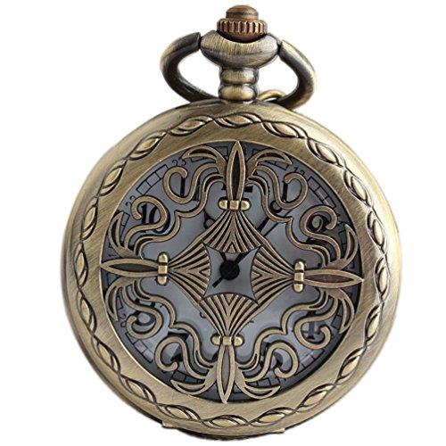 VIGOROSO Celtic Men Lady Pocket Watch Gift Vintage Retro Bronze Steampunk Necklace Pandant in Box]()