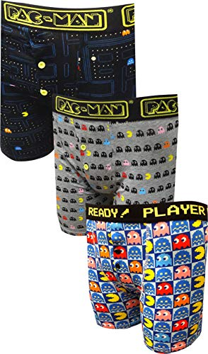 MJC Men's Pacman and Ghosts Guys 3 Pack Boxer Briefs -