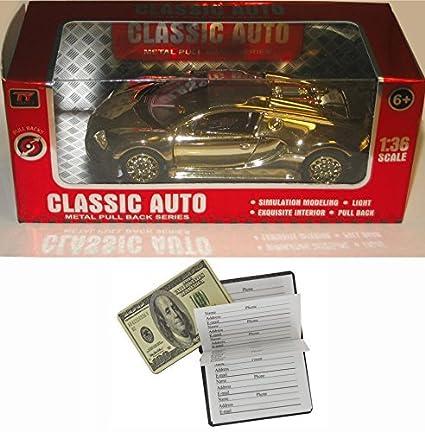 Amazon Com Bugatti Veyron Classic Auto Metal Pull Back Series Gold