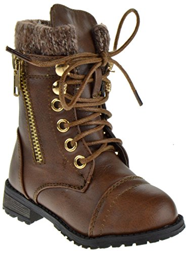 Brown Combat Boots For Girls (Mango 31KA Baby Girls Combat Lace Up Boots Brown 8 Toddler)