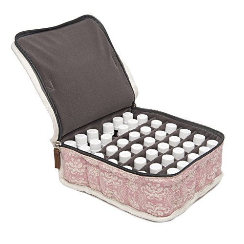 42-Bottle Essential Oil Carrying Case (5ml,10ml,15ml) with Plush Grey Velvet Interior for doTERRA, Young Living Bottles for Aromatherapy Travel or Storage (Pink)