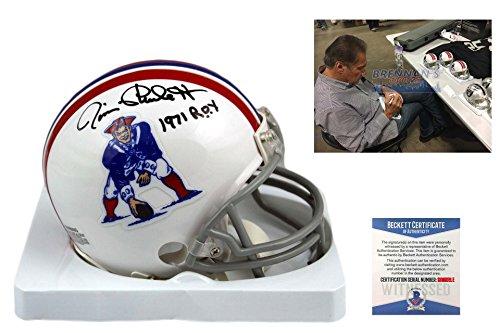 Jim Plunkett Signed New England Patriots Mini-Helmet - Becke