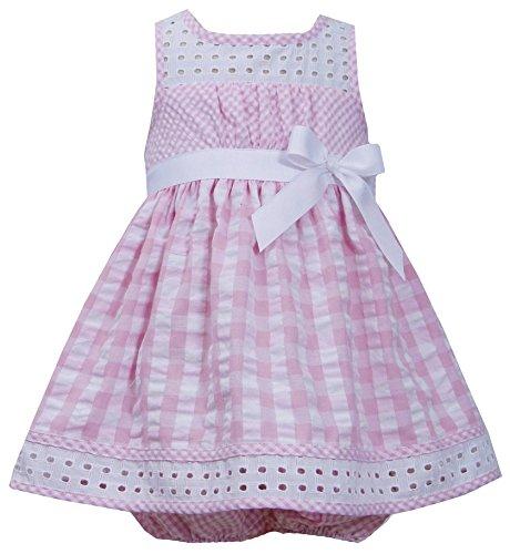 ls 3M-24M Pink White Twin Check Eyelet Trim Seersucker Dress (12 Months, Pink) ()