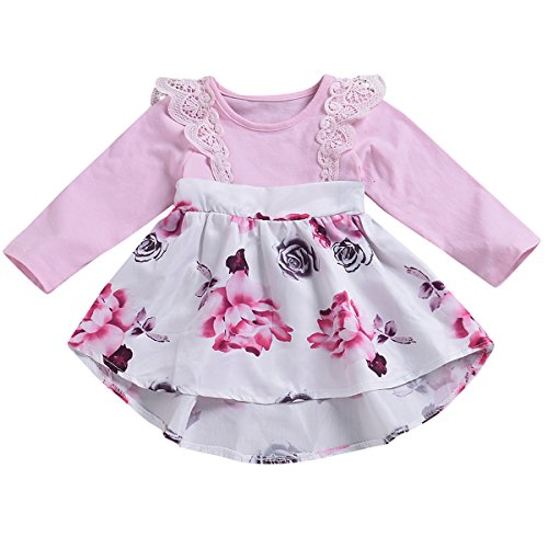 - HappyMA  Infant Toddler Baby Girl Clothing Floral Dress Lace Ruffle Long Sleeve Skirt Outfit (Pink#Long, 70(0-3 Month))