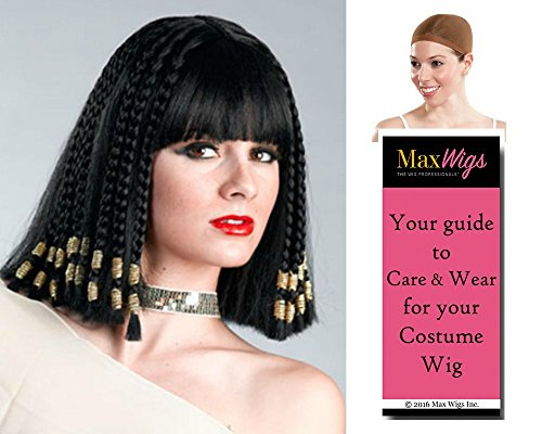 Egyptian Queen Cleopatra Color Black - Enigma Wigs Women's Nefertiti Braided Ptolemaic Bundle with Wig Cap, MaxWigs Costume Wig Care Guide]()
