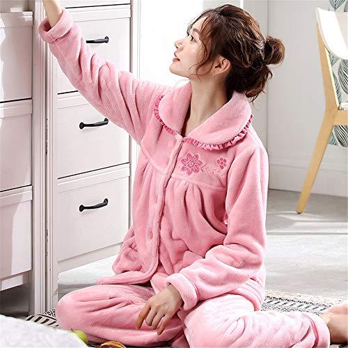 Mujer Juegos Servicio Baijuxing E Informal De Cálido Suave Franela Xxl Doméstico Manga Otoño Terciopelo Para Pijama Larga Invierno 2 Coral wwq1XSC