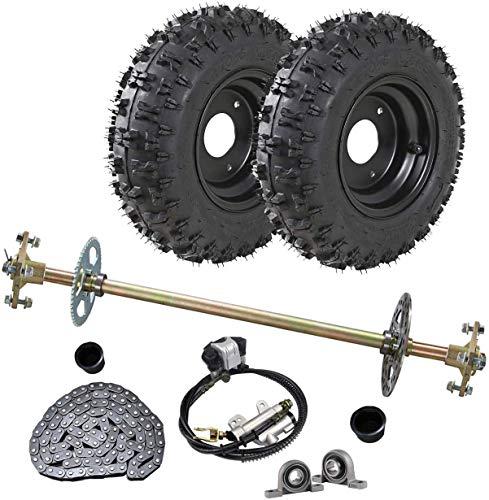 WPHMOTO Go Kart Rear Axle Assembly Complete Wheel Hub Kit & 4.10-6 Tires With Rim & Brake Assembly & T8F Chain for Quad Trike Drift Bikes (Go Kart Brake Assembly)