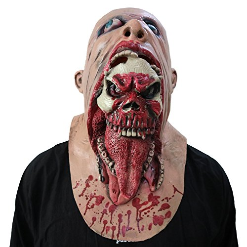 Witspace Bloody Zombie Vampire Mask, Horror Halloween Costumes Scary Latex Creepy Mascaras Mask Bloody and Ugly -