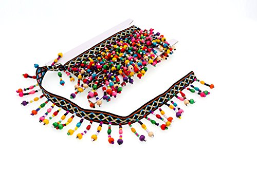Garfield Tong Tong Embroidered Boho Wooden Beaded Fringe Trim Tassels Multicolor Ribbon 2 Yard For sewing Crafts Applique Design Decorating Embroidery Clothing Accessories Bedding Curtains Paper Craft -