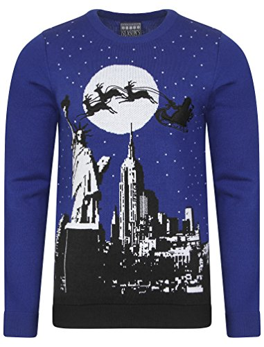 Greetings Eve De Seasons Sweater Bleu York Noel New Pull gOOwadq1