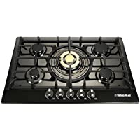 Windmax Fashion Black & Gold 30 Inch Stainless Steel 5 Burner Built-In Stove Natural Gas Cooktop