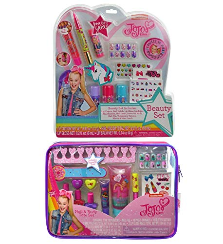 (Mozlly Value Pack - JoJo Siwa Beauty Kit Set and Nail and Body Tote Bag Set - Includes Polishes Toe Separators Nail File Press On Nails Polishes Lip Gloss Rings and More (2 Items))