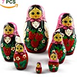MATRYOSHKA&HANDICRAFT Wooden Russian Nesting Dolls with Strawberries Set 7 pcs