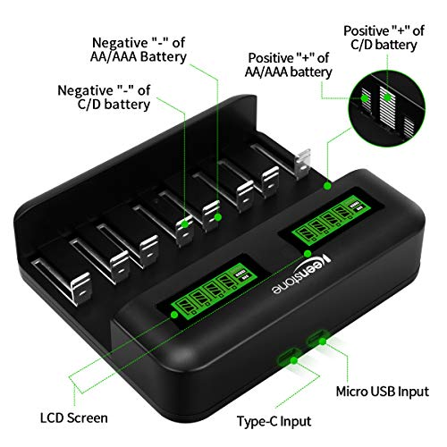 Keenstone Chargeur de Batteries Rapide pour AA/LR6, AAA/LR3, C/R14, D/R20 Ni-MH/Ni-CD Piles Rechargeables avec Écran LCD Intelligent et Ports Type C et Micro USB, Câble Type-C USB Inclus