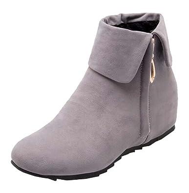 Neu Herbst und Winter Damen stiefel Nubukleder flache Stiefel (EU41.5=China43=26.5cm, khaki)