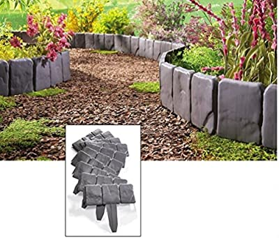 (USA Warehouse) Interlocking Faux Stone Border Edging, 10 Piece Garden Borders, Landscaping Look -/PT# HF983-1754415293