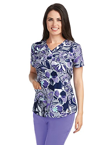 Grey's Anatomy 41386 Print V-Neck Top Fusion Floral (Greys Anatomy 2 Pocket)