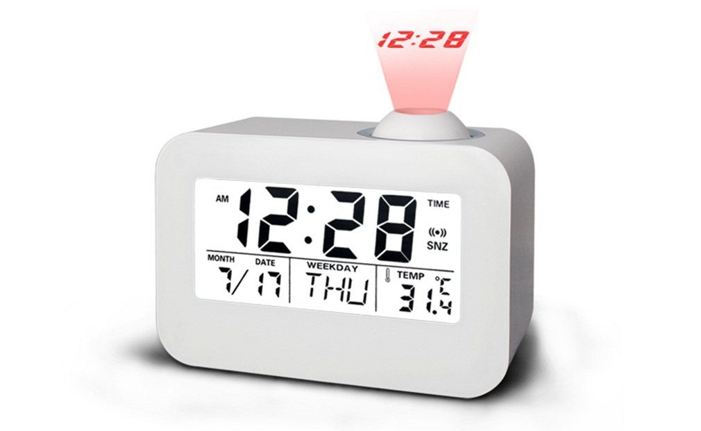Itemship Innovative LED Calender Voice Timekeeping Luminous Projection Clock (White)