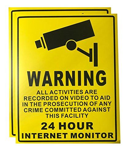 Big Warning CCTV 24 Hour Internet Monitor Sticker for Indoor Outdoor Use (2 ()