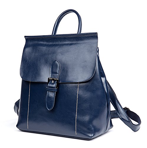 Leather Womens OSONM Multi Shoulder Bag Cow Bag functional Backpack Blue Fashion Bag IB1d1q