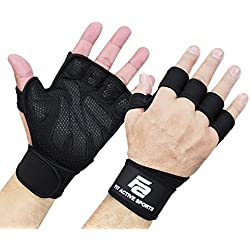 New Ventilated Weight Lifting Gloves with Built-In Wrist Wraps, Full Palm Protection & Extra Grip. Great for Pull Ups, Cross Training, Fitness & Weightlifting. Suits Men & Women