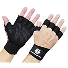 New Ventilated Weight Lifting Gloves with Built-In Wrist Wraps, Full Palm Protection & Extra Grip