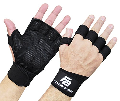 (New Ventilated Weight Lifting Gloves with Built-In Wrist Wraps, Full Palm Protection & Extra Grip. Great for Pull Ups, Cross Training, Fitness, WODs & Weightlifting. Suits Men & Women)