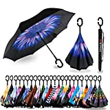 Spar. Saa Double Layer Inverted Umbrella with C-Shaped Handle, Anti-UV Waterproof Windproof Straight Umbrella for Car Rain Outdoor Use (Blue Flower)