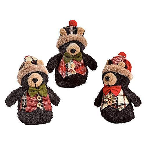 Black Bear Crafts - Gift Craft Black Bears Plaid 2.5 x 5 Inch Plush Christmas Ornament Figurines Assorted Set of 3