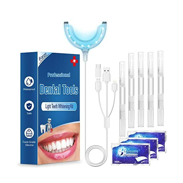 Kit de Blanqueamiento Dental Gel 5PCS ifanze Blanqueamiento de Dientes Luz*1, Blanqueador Dientes Tiras*3, Blanqueador… 3