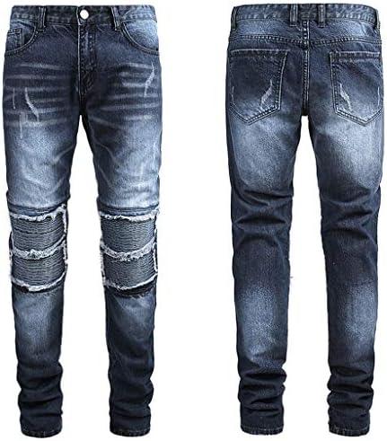 メンズ新しいファッション モトバイカールーズジーンズフォールドホールズボンロングパンツ