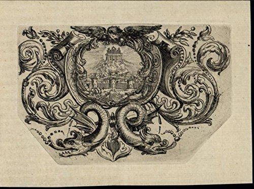 (Dragons Serpents Castle Palace Eagle Design 1705 wonderful rare antique print)