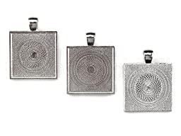 50 CleverDelights Square Pendant Trays - Shimmering Silver Color - 1 Inch - 25mm - Pendant Blanks Cameo Bezel Settings Photo Jewelry - Custom Jewelry Making - 1\